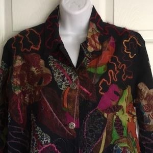 NWOT..CHICO'S black jean jacket with pizzazz!